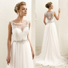Cheap Beach Wedding Dresses Bohemian Scoop Tank Lace Bridal Gowns 2016  Chiffon Summer Illusion Bodice China vestidos indianos