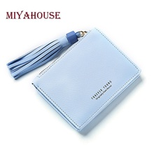 Miyahouse Female Mini Wallets Women Tassel Pendant Small Money Wallet PU Leather Ladies Zipper Coin Purses Fashion Card Holders(China)