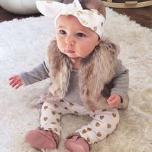 2018 baby girl clothes Pure gray long sleeve Bodysuit + Love pants + Headband 3pcs suit newborn baby girl clothing set(China)