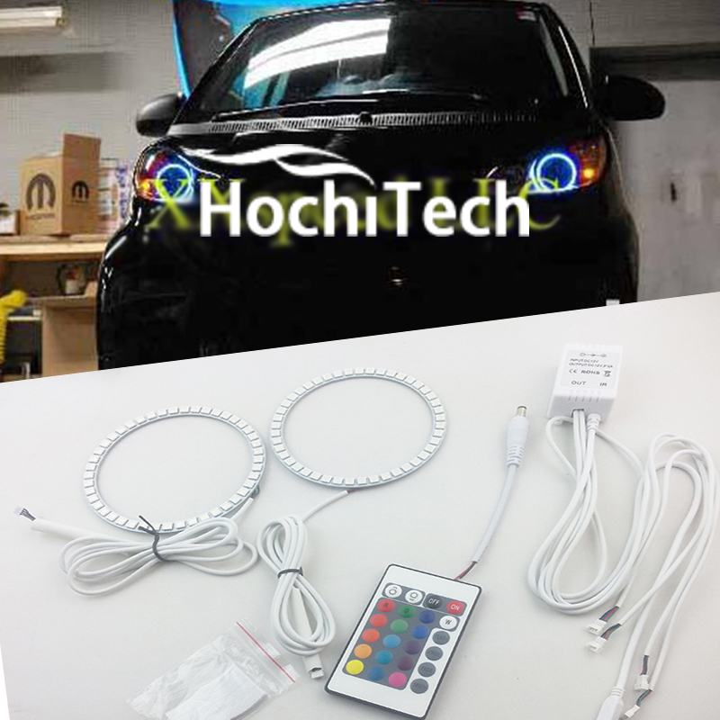 for 2008-2015 Smart ForTwo RGB LED Color SHIFT Halo Rings Headlights Bulbs angel eyes<br>