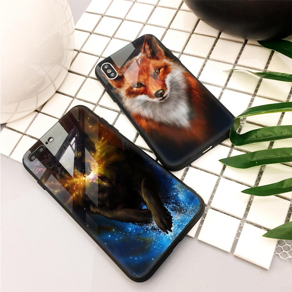 TOMKAS Animal Glass Case For iPhone X 8 7 10 6 Cover Phone Cases For iPhone X 7 8 6 6s Plus Case Luxury Cute TPU PC Covers Coque (22)