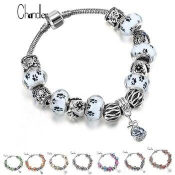 Chandler Brand New Good Luck Tibetan Silver Original DIY Beads Jewelry Stone Homme Charm bracelets & bangles Snake Chain Pulsera