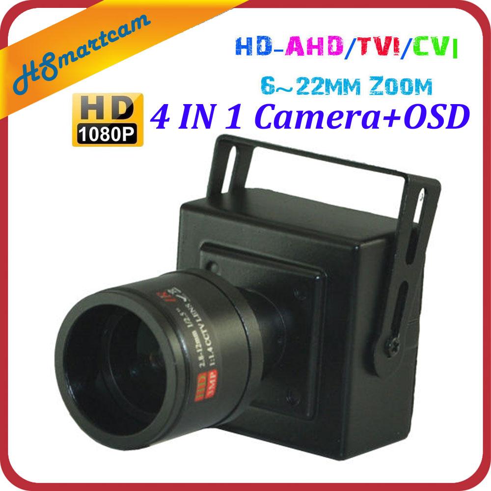 5.0 Megapixel 6~22MM Manual Zoom Lens 1080P 2.0MP HD-AHD/TVI/CVI/CVBS MINI CCTV 4IN1 HD OSD Camera For DC12V DVR Camera Systems<br>
