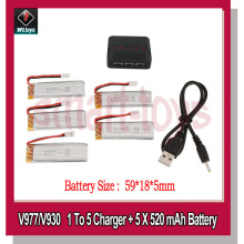 5Pcs V966-016 Battery and 5-port USB Charger V977-006 Battery for Wltoys V966 V977 V988 V930 RC Helicopter Parts
