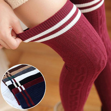 2016 7 Colors College Style Striped Knee Stocking for Girl Spring Autumn Winter Twist Warm Medias Over the Knee Thigh Stockings