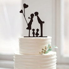 Silhouette Wedding Cake Topper Modern Family Members Cake Toppers Anniversary Rustic Cake Decor with Love Party Decoration Favor