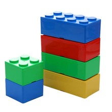 Hot 4 Colors Creative Storage Box Plastic Building Block Shape Saving Space Box Superimposed Desktop Office House Organizer