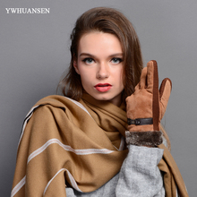 YWHUANSEN High Quality Thick Warm Winter Gloves Fashion Coral Fleece Women Men Luva Ladies Leather Mittens Unisex Thick Guantes(China)