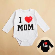 Cheap&High Quality I Love MOM/DAD Print Infant Toddler Baby Girl Boy Romper Jumpsuit Clothes Shirt