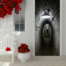 77X200cm 3D stereo door posted absentee tunnel living room bedroom door personalized decorative wall stickers self - adhesive st(China)