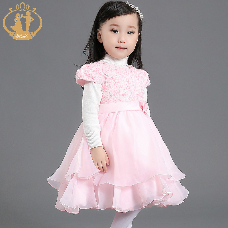 Crew Neck Autumn Girls Dress Flower Beads Wedding Chiffon Dress For Girls Birthday Party Pageant Organza Dress For Baby Girls<br><br>Aliexpress