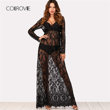 Buy COLROVIE Eyelash Lace See-Through Flowy Dress 2018 New Black Line High Waist Female Mesh Dress V Neck Long Sleeve Women Dress for $15.99 in AliExpress store