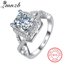 90% OFF!!! LMNZB Luxury 100% 925 Sterling Silver Rings for Women Wedding Engagement Acessories Cubic Zirconia Jewelry LR065(China)