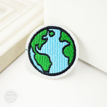 Earth (Size:4.3cm)DIY Hippie Badge Iron On Patch Embroidered Applique Sewing Clothes Stickers Garment Badges Apparel Accessories
