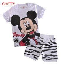 cotton boy short sleeve white Mitch home wear children's summer and spring summer suit air conditioning clothes cartoon pajamas