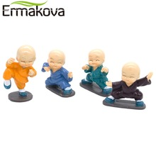 ERMAKOVA 4 Pcs/Set Resin Little Gongfu Monk Figurine Kung Fu Shaolin Monk Statue Home Office Car Dolls Decor Car Toy Accessories