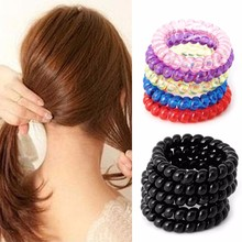 5pcs Girl Elastic Rubber Hair Ties Band Rope Ponytail Holder Telephone Wire Hair Accessories