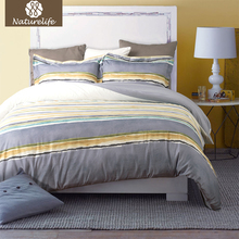 Naturelife Duvet Cover Set Soft Striped Hypoallergenic Washed Cotton Pillowcase Duvet Cover Bed Quilt Bedlinen Bedclothes(China)