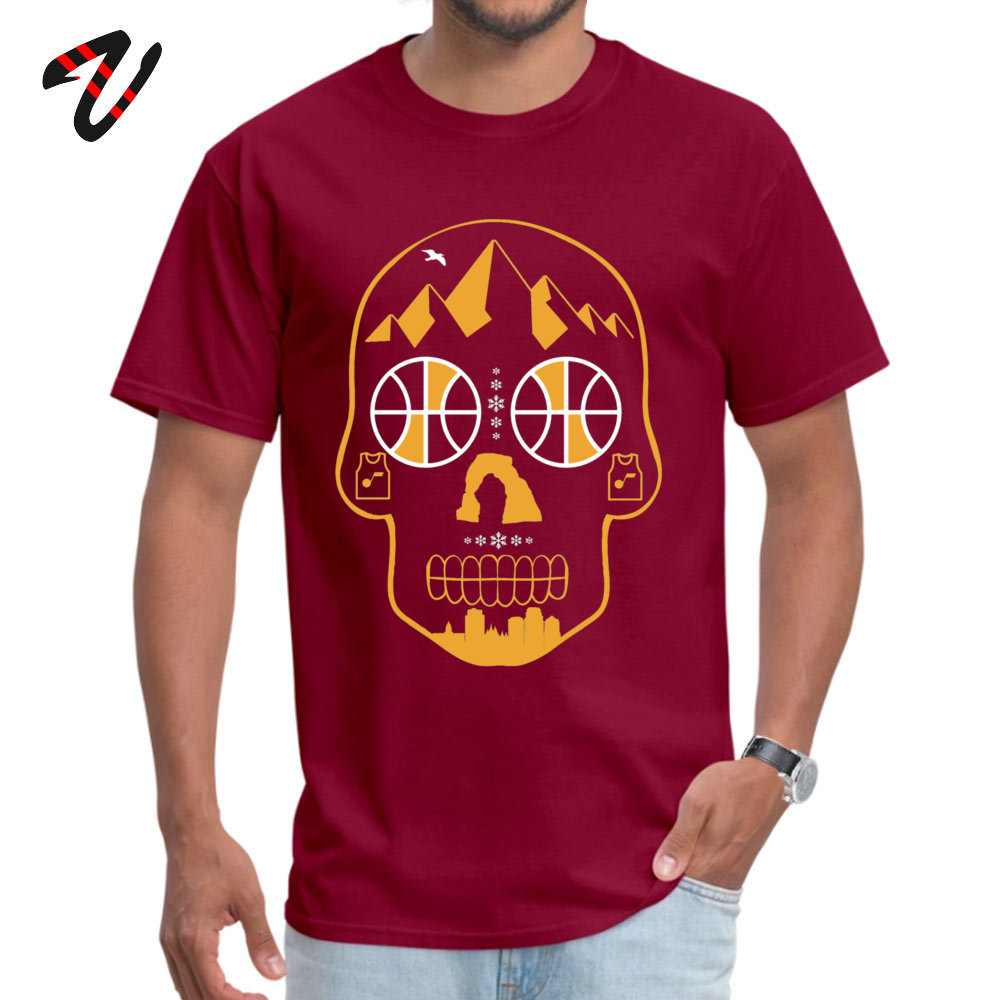 Utah Sugar Skull Personalized Short Sleeve Tees Summer Fall O-Neck 100% Cotton Men T-Shirt Personalized Clothing Shirt 2018 New Utah Sugar Skull10661 maroon