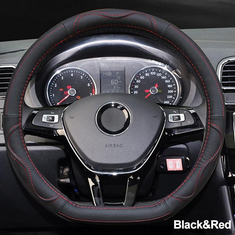 04 Car Steering Wheel Cover D Shape PU Leather For Volkswagen VW Golf R Alltrack Passat jetta Audi TT Renault Citroen Peugeot