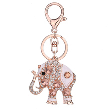 Charm Lucky Mascot Elephant Keychain Bling Rhinestone Keyring Bag Purse Buckle Car Keys Holder Jewelry Gift For Women CX17