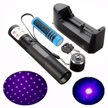 650nm 50mW Laser Pen Purple Light Beam Adjustable Focusing Laser Pointer Pen Powerful with 18650 Battery EU Plug Charger For PPT(China)