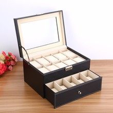6/10/12/20/24 Grids Luxury Jewelry Box Makeup,Casket Jewelry Trave Case Birthday Gift Ring Earings Necklack Storage Container(China)