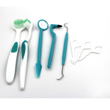 8 Pcs Mirror Scale Tongue Metal Pick Cleaner Tooth Brush Oral Dental Care Kit color green