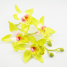 Light green silk Orchid Flowers branch Sand beach travel Head decoration / DIY for flower crown(China)