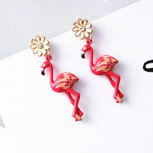 Bovvsky Red Bird daisy Flower earrings Lovely Zircon Small Daisy Flamingo Pendant Earrings Women's Luxury Bijoux