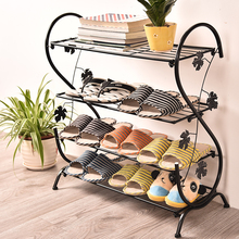 Continental Iron Shoe Multilayer Simple Stainless steel dust Storage shoe Iron shoe rack Folding Shelves(China)