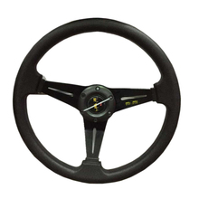 HANSBO 350MM Universal Black Genuine LeatherDeep Dish Drifting Sport Racing Steering Wheel Car-Styling Refit  Free Shipping!!!