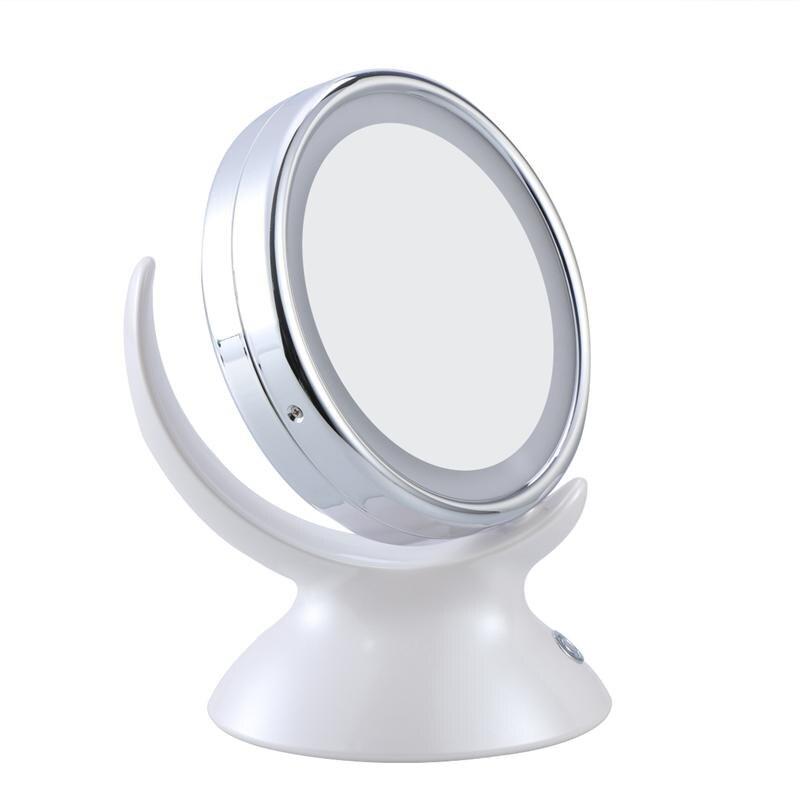 Spiegel Schönheit & Gesundheit weiß 360 Grad Rotary Runde Doppel Seite 5x Vergrößerungs Make-up Tisch Spiegel Led Licht Kosmetik Spiegel