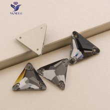 YANRUO 3270 Triangle Black Diamond Sew On Stones Glass Crystal Flat back Rhinestones Sewing Stones For Clothes Dresses
