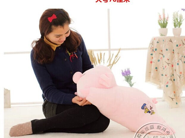 middle cartoon cute plush pig toys pink soft lying pig doll stuffed doll birthday gift about 60cm<br><br>Aliexpress