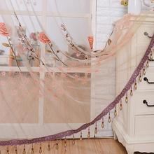 Curtain for Living Room See Through Sheer Panel Door Sheer Curtains Beads Tassel Floral Voile Divider Window Curtain(China)