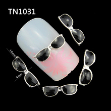 10 Pcs/Lot New Black Sunglasses 3D Metal Nail Art Decorations DIY Silver Alloy Studs Supplies For Nails TN1031