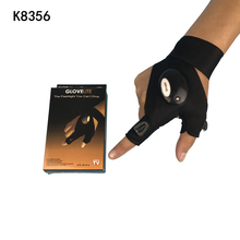 k8356 Non-slip Breathable Comfortable Led Light Adjustable Cotton Fishing Gloves Bluefish With Strong Flashlight Retail Outdoor