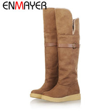 ENMAYER new arrival  wholesale women's snow boots, winter boots, Knee-High flats long boots Round Toe Flock boots