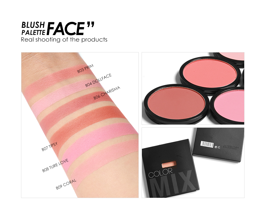 FOCALLURE 6 Colors Blush Makeup Cosmetic Natural Pressed Blusher Powder Palette Charming Cheek Color Make Up Face Blush 9