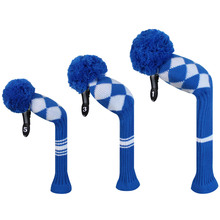 Blue White Argyles Knit Golf Headcovers set of 3 for Driver Wood, 3 wood and 5 wood
