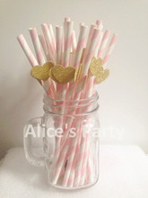 25 Pcs pink stripe paper drinking straws drinking Tubes wedding Party Decorations custom gorgeous Eco straws paper straws diy