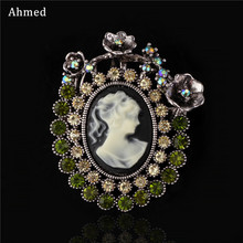 Ahmed Fashion Wedding Flower Corsage Vintage Beauty Head Rhinestone Brooches Charm Retro Scarf Suit Clip Up For Women Jewelry(China)
