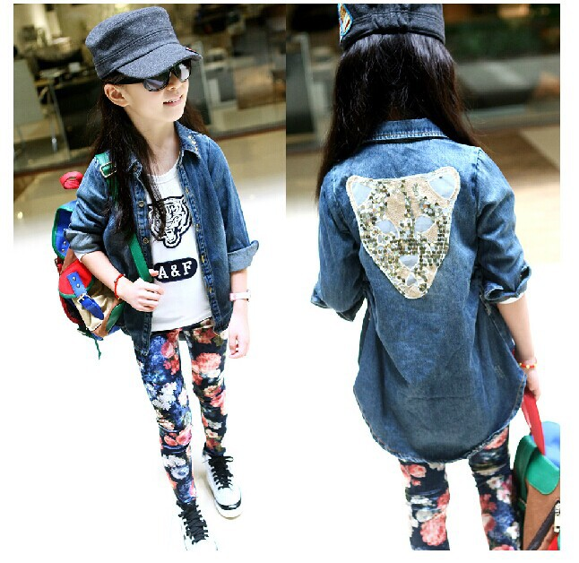 Children Girls New Europe and The United States Street Windbreaker Cowboy T-shirt-pant-Jackets Three Piece Kids Clothing Sets<br>