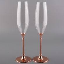 Fashion Metal Goblet Decorated Champagne Glasses Wedding Toating Champagne Cup Set with Rose Gold Metal Stem Drinking Glasses(China)