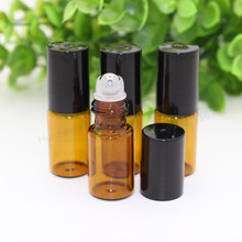 30 x 3ml Amber roll on roller bottles for essential oils roll-on refillable perfume bottle deodorant containers with black lid