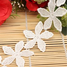 1 Yard Delicate Polyester Applique Embroidered Flower Lace Sewing Trim Dress Crochet DIY Craft White(China)