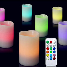 Romantic Home Decor 3 x Colour Changing LED Light Flameless Wax Candles with Timer & Remote Popular #81527(China)