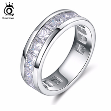 ORSA JEWELS 2017 Fashion Silver Color Rings with 15 Pieces Shine AAA Austrian Cubic Zirconia Wedding Rings for Men & Women OR145(China)