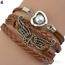 Attractive Wome Men Mix Multilayer Wig Love bracelet Angel Wings Owl Deathly Hallows Chain A6QB